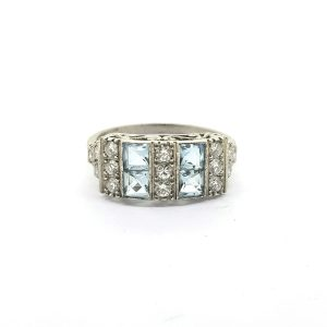 Art Deco Style Aquamarine and Diamond Dress Ring in Platinum