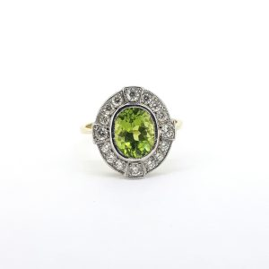 Peridot and Diamond Oval Cluster Ring in 18ct Gold, 2.00 carats