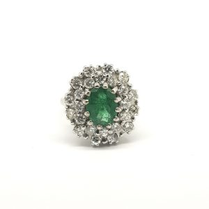 Emerald and Diamond Cluster Ring in 18ct White Gold