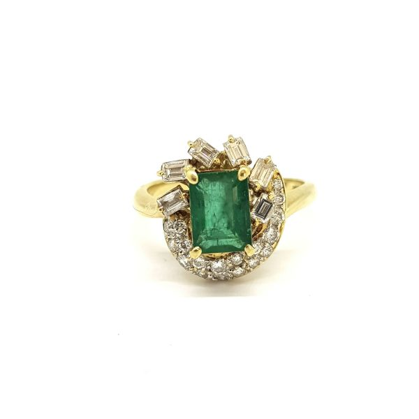 Vintage 2ct Emerald and Diamond Cluster Dress Ring