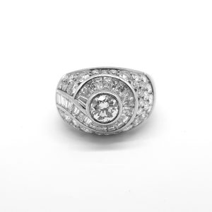 Geometric Diamond Bombe Dress Ring, 2.75 carat total