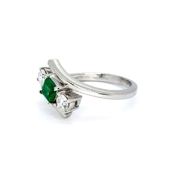 Emerald and Diamond Crossover Three Stone Ring in 18ct White Gold