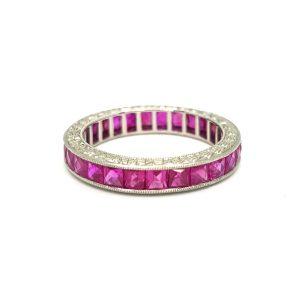 Princess Cut Ruby Full Eternity Band Ring in Platinum