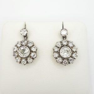 Vintage Old Cut Diamond Cluster Drop Earrings, 2.50 carat total