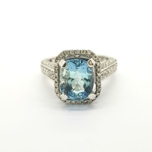 Aquamarine and Diamond Cluster Dress Ring in 18ct Gold, 3.49 carats