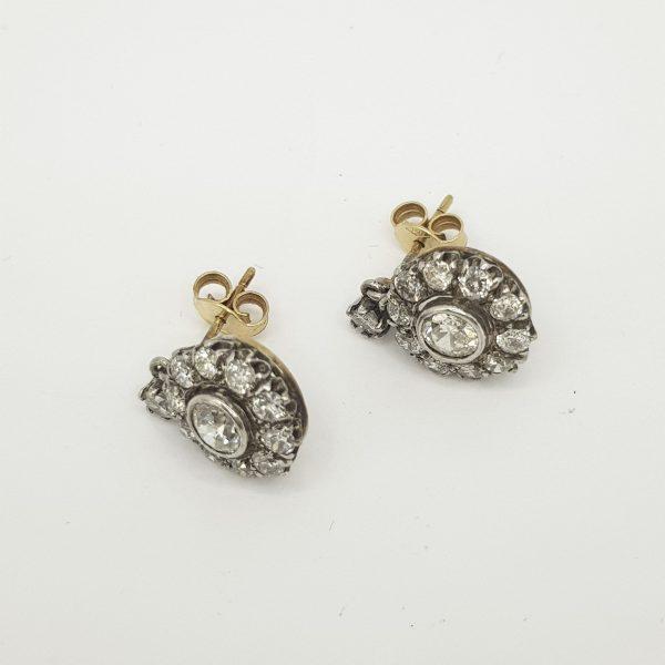 Vintage Old Cut Diamond Cluster Drop Earrings, 2.50 carats