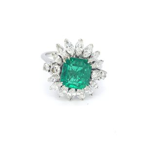 4ct Colombian Emerald and Marquise Diamond Floral Cluster Ring