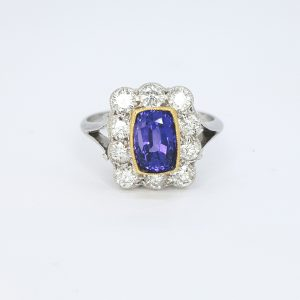 Natural Sapphire and Diamond Cluster Ring, 2.16 carats