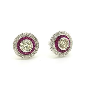 Ruby and Diamond Cluster Target Stud Earrings, 0.60 carats