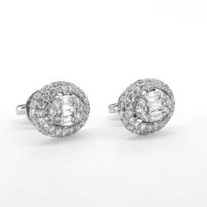 Baguette and Brilliant Cut Diamond Cluster Earrings, 1.35 carat total