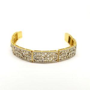 Art Deco Old Cut Diamond Decorative Panel Bracelet, 5.00 carats