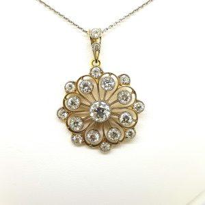 Antique Diamond Flower Cluster Pendant, 4.00 carat total