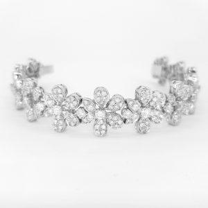 Contemporary Diamond Daisy Cluster Bracelet, 8.00 carat total
