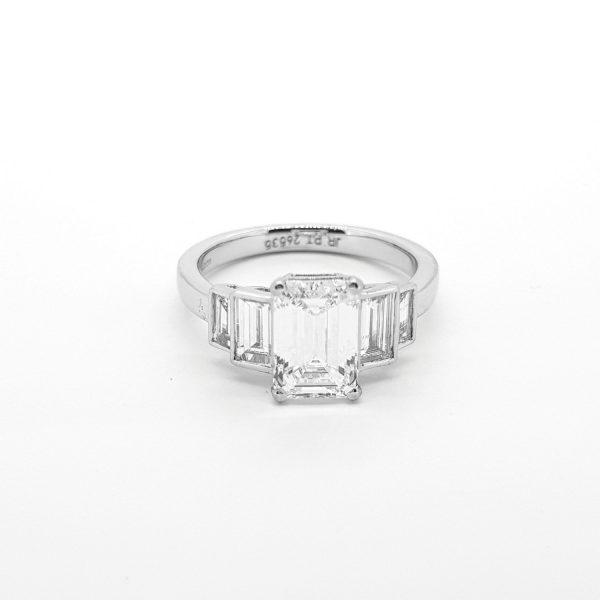 1.75ct Emerald Cut Diamond Engagement Ring in Platinum