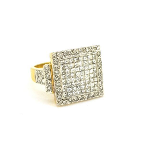 Unisex French Diamond Square Shaped Cluster Ring, 2.01 carat total, set with 64 princess cut diamonds, diamond set shoulders, in 18ct gold