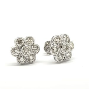 Diamond Daisy Flower Cluster Stud Earrings, 2.03 carats
