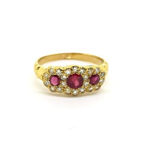 Ruby and Diamond Three Stone Cluster Ring in 18ct Yellow Gold