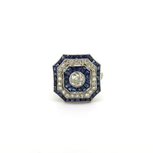 Art Deco Style Sapphire and Diamond Cluster Dress Ring in Platinum