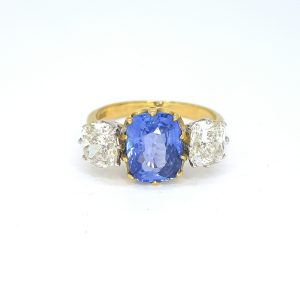 Cushion Cut Sapphire and Diamond Three Stone Ring, 3.12 carats