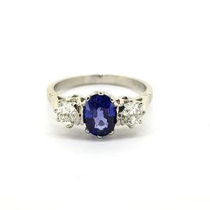 1.00ct Oval Cut Sapphire and Diamond Three Stone Ring in Platinum