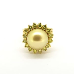 Golden South Sea Pearl and Yellow Diamond Cluster Ring