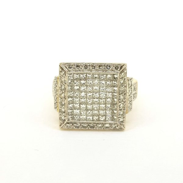 Unisex French Diamond Square Shaped Cluster Ring, 2.01 carat total