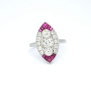 Ruby and Diamond Marquise Shaped Navette Cluster Ring