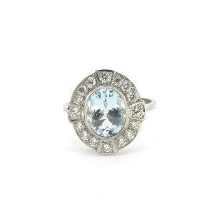 Aquamarine and Diamond Oval Cluster Ring in Platinum, 1.50 carats