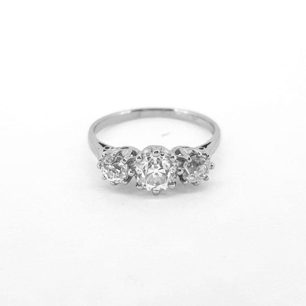 Vintage Old Cut Diamond Three Stone Ring in Platinum, 1.37 carats