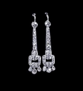 Art Deco Old Cut Diamond Drop Earrings in Platinum, 3.72 carats