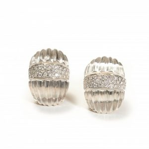 Carved Rock Crystal and Diamond Earrings by Maz