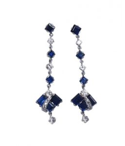 Vintage Geometric Sapphire and Diamond Drop Earrings, 4.50 carats