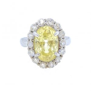 6.42ct Yellow Sapphire and Diamond Oval Cluster Ring in 18ct White Gold
