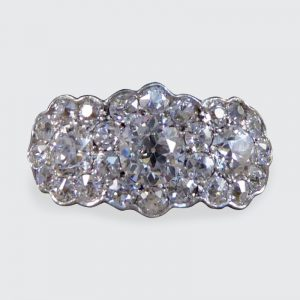 Antique Edwardian 2.87ct Triple Diamond Cluster Ring
