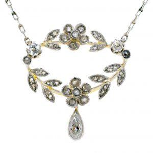Antique Edwardian Floral Diamond Pendant Necklace