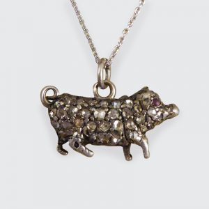 Antique Late Victorian Diamond and Ruby Pig on Platinum Chain