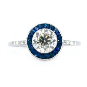 Art Deco Style 1.02ct Diamond and Sapphire Target Ring