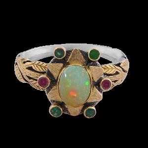 Lola Opal Emerald Rubelite Ring