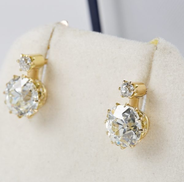 Antique Victorian 3.90ct Diamond Earrings, 18ct Gold