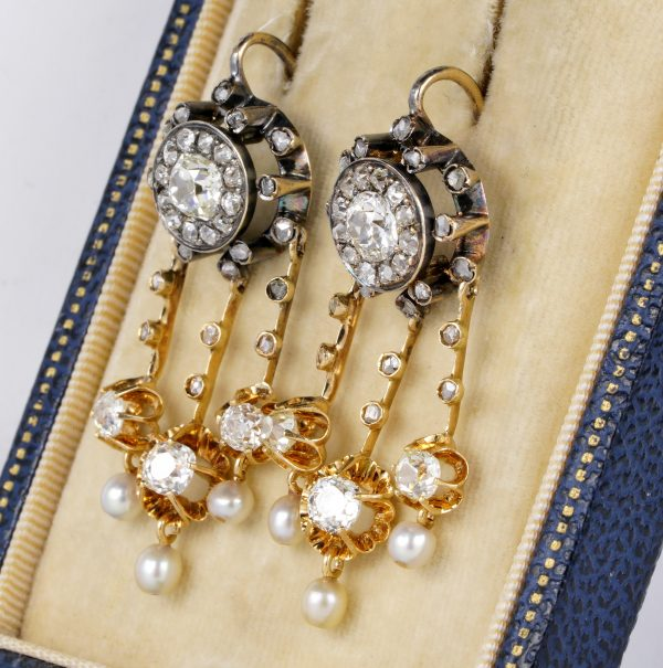 Antique Victorian 4.30ct Old Mine Cut Diamond and Natural Pearl Earrings