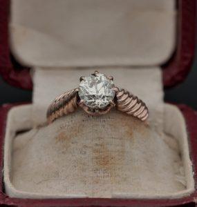 Antique Victorian 1.40ct Old European Cut Diamond Engagement Ring