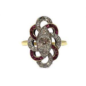Original Art Deco Ruby and Diamond Dress Ring, Circa 1930's