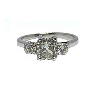Vintage Cushion Cut Diamond Three Stone Engagement Ring
