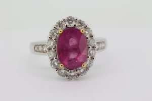 Pink Sapphire and Diamond Oval Cluster Ring, 4.17 carats
