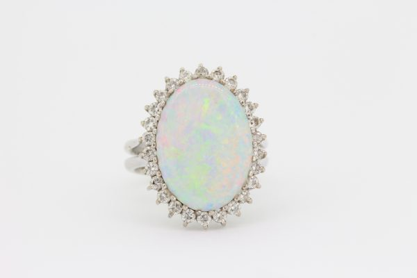Vintage Opal and Diamond Oval Cluster Ring