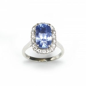 7.27ct Natural Sapphire and Diamond Cluster Ring in Platinum, Certified