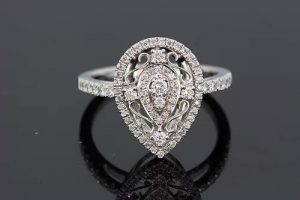 Pear Shaped Diamond Cluster Dress Ring, 0.41 carats