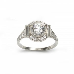Art Deco Style 1.48ct Transitional Cut Diamond Cluster Ring in Platinum
