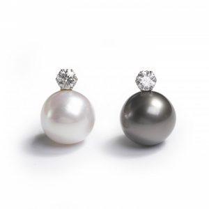 South Sea Pearl and Diamond Earrings, 2.20 carat total