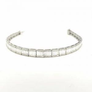Baguette Cut Diamond Line Bracelet in 18ct White Gold, 6.52 carats